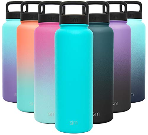 Simple Modern 40 Ounce Summit Water Bottle - Stainless Steel Liter Flask +2 Lids - Wide Mouth Tumbler Double Wall Vacuum Insulated Teal Leakproof -Caribbean
