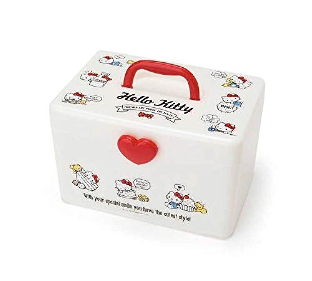 内陸緑適合キティ 持ち手付き収納ボックス サンリオ 裁縫箱 救急箱 メイクボックス コスメケース