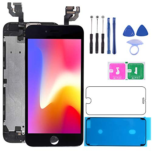 for iPhone 6s Plus White Screen Replacement Touch Display LCD Digitizer Full Assembly with Front Camera,Proximity Sensor,Ear Speaker Including Repair Tool and Screen Protector