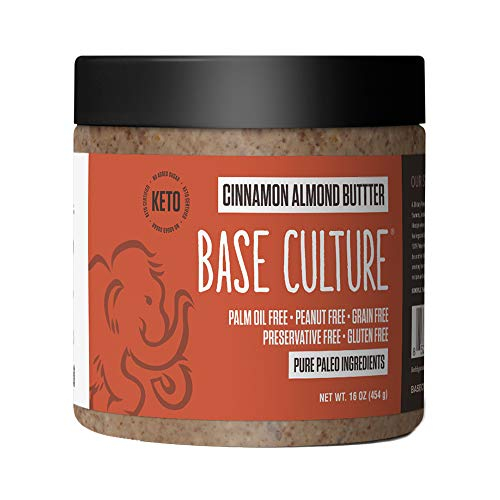 Paleo Almond Butter, Cinnamon Almond, 100% Paleo Certified and Gluten Free Almond Butter, 6g Protein Per Serving, Crafted by Base Culture (1 Count)