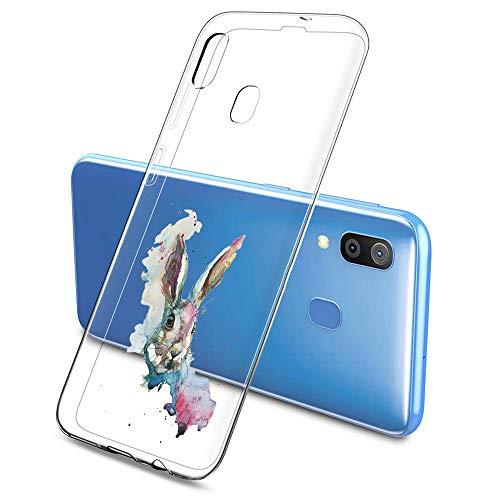 Suhctup Compatibile per Samsung Galaxy G530 / Grand Prime (G5308W), Cover Galaxy G530 Trasparente Silicone Antiurto Custodia con Animale Disegni, Ultra Sottile TPU Gel Protettivo Case, Coniglio