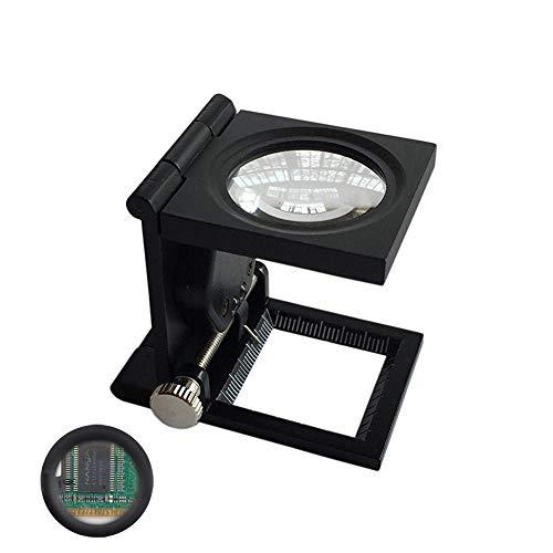 WHYTT Lupa Bolsillo 10X 20mm Tela Escala de la Medida Cuentahilos Metal (Negro) Plegable en Tres Partes Lupa con 2 luz LED verificación de píxeles, fotografía, impresión