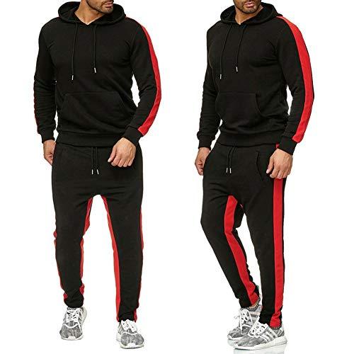 acelyn - Chándal para hombre, color sólido, mangas completas, pantalones casuales, con cremallera, M-2XL