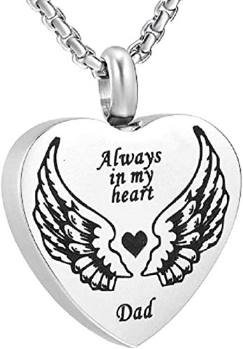Stainless Steel Memorial Ash Holder Engraved Angel Wing Mom in Heart Cremation Urn Pendant for Loved Ones Ashesereavement Jewelry
