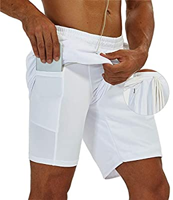 SILKWORLD Mens Big and Tall Mesh Jogger Shorts for Gym Workout & Athletic Sports with Compression Liner & Zipper Pockets, White, US Medium