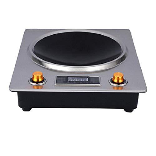 TSTYS Induction cookerhob 3500W concave évidée cuisinière électrique de Bureau, Panneau à Cristaux Micro de Commande de Bouton 270 Grande Bobine,Silver