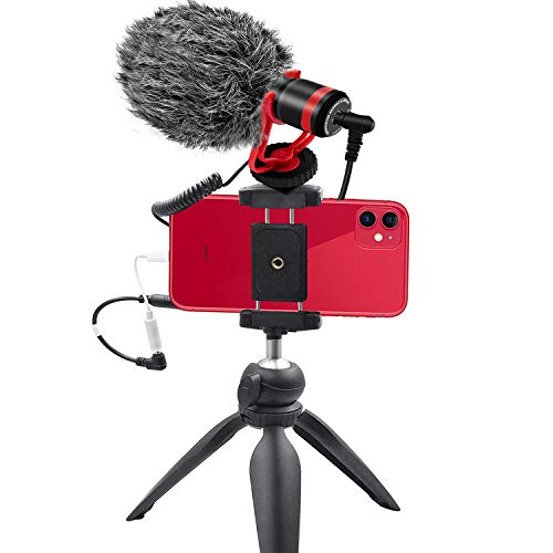 Smartphone Camera Video Microphone Kit,Tikysky ASMR Microphone for YouTube Windscreen 3.5mm Jack External Mic for Phone iPhone Samsung DSLR Canon Nikon with Mini Tripod