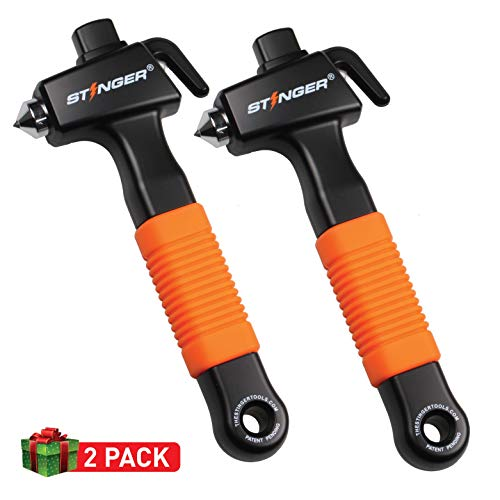 Ztylus Stinger Super Duty Car Emergency Escape & Rescue Tool, Hardened Steel Hammer, Spring Loaded Window Breaker Punch, Razor Sharp Seatbelt Cutter,Auto Disaster Life-Saving (Combo Deal 2 pcs Orange)