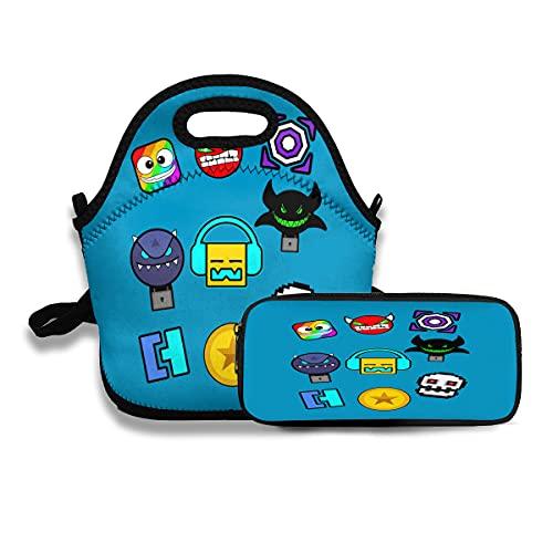 Geometry Dash – Icons Lunch Bag riutilizzabile e durevole borsa per il pranzo con astuccio per...