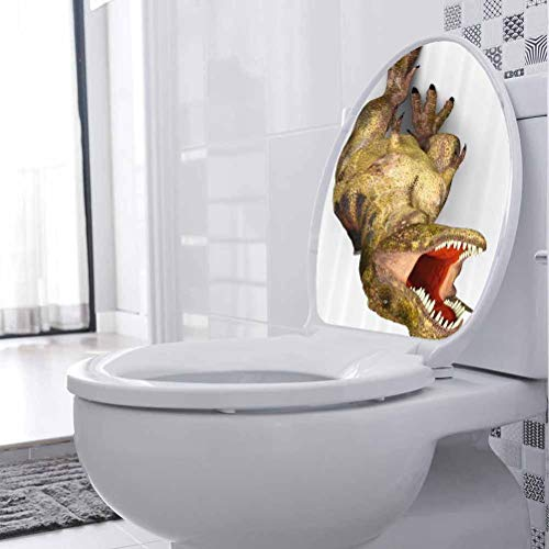 Toilet Seat Stickers Decals Roaring Vivid T Rex Toilet Bathroom Seat Vinyl Sticker 3D Toilet Funny Bathroom Seat Decor, W21xH28 cm