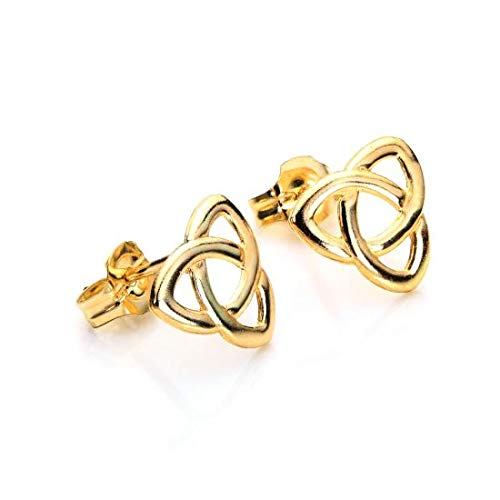 9ct Yellow Gold Triquetra Celtic Knot Stud Earrings/Studs