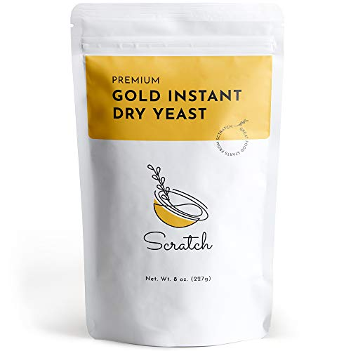 Scratch Gold Instant Rapid-Rise Dry Yeast - Premium Baking Ingredients - Perfect for Making Bread, Pizza, Dough, & Crusts - Quick Rising All Purpose - (Gold 8oz) (1 Packet)