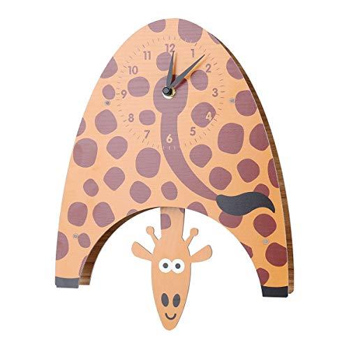 SUPERHUA Cartoon Tieruhr, schwingende Giraffenuhr, MDF Holzwanduhr, Uhr für Kinderzimmer Wohnzimmer, Wohnkultur