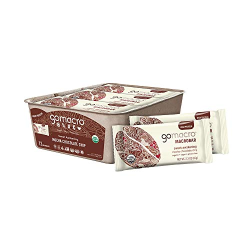 GoMacro MacroBar Organic Vegan Protein Bars - Coconut, Almond Butter, Chocolate Chips, (2.3 Ounce, 12 Count)