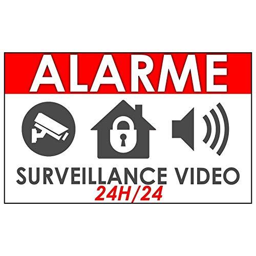 """Lot de 10 stickers""""Alarme video surveillance maison"""""""