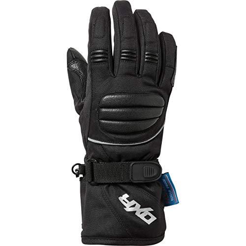 DXR Motorradhandschuhe lang Motorrad Handschuh Kinder Tour Leder-/Textilhandschuh 1.0, Motorradhandschuhe Kinder, wasserdicht, winddicht, atmungsaktiv, Reflektoren, Leder/Polyamid, Schwarz, 7