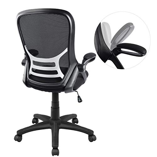 Office Chair, Ergonomic Desk Chair, Mesh Computer Chair Adjustable with Flip-up Arms, Black