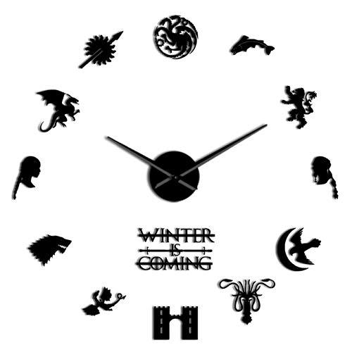 yage Casa de fantasía Medieval Stark Lema Casa Palabras Espejo Pegatinas Arte de la Pared DIY Reloj de Pared Grande Decoración del hogar Agujas Grandes Reloj de Pared