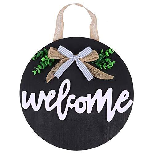 YaGFeng Señales De Bienvenida Signo de Bienvenida Colgante Colgante Puerta Colgante Decoración Puerta Bowknot Colgante Guirnalda Adecuado para La Entrada Familiar (Color : Black, Size : One Size)