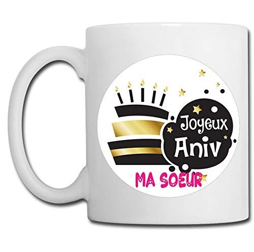 Linyatingoshop - Tazza con scritta 'Joyeux Anniv Ma Séur in Francia, regalo originale
