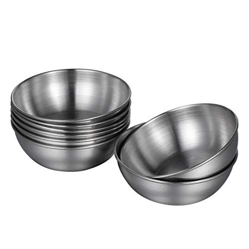 Hemoton 8 Stück Snackschalen Dipschalen Edelstahl Saucenschälchen Rund Schälchen Rührschüssel Mini Vorspeisenteller,8 X 2,5 cm