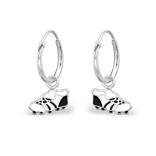 Tata Gisele - Pendientes de aro infantil de plata 925/000 y epoxi – Zapatos de fútbol