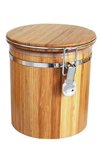 rukauf.. 1 Liter Bambus-Holz Vorrats-Dose aromadicht Bügelverschluss Vorratsbehälter Frischhalte-Behälter Aufbewahrungs-Box Kaffeedose