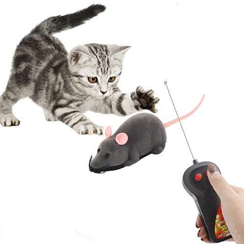 LHKJ Telecomandato Ratto per Gatto, Wireless Peluche di Simulazione del Mouse(Grigio)