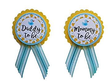 Mommy & Daddy to Be Pin Duck Baby Shower Yellow & Blue It s a Boy Baby Sprinkle Gender Reveal