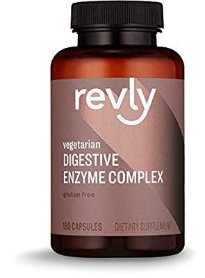 Amazon Brand - Revly Digestive Enzyme Complex, Supports Healthy Digestion, 180 Count Capsules, 90 Servings