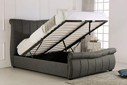 Sky Furniture Fabric Sleigh Ottoman Gas Lift Storage Bed End Lifting, Grey, 6 ft (Super King)