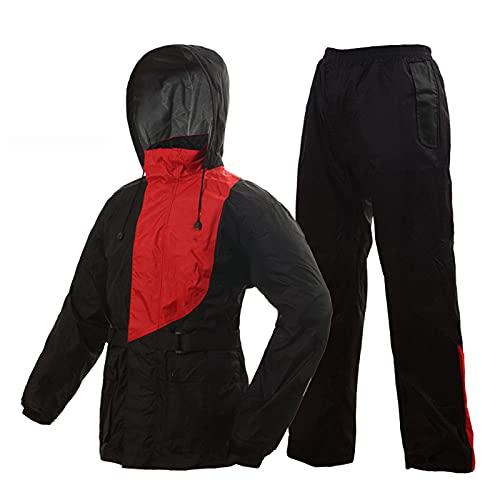 Impermeable impermeable impermeable chaqueta para traje adulto con bolsa de almacenamiento Pongee y malla de manga larga Velcro transpirable para exteriores, rojo, XXL