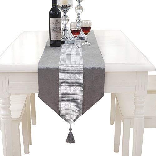 HANGNUO 210CM Pailletten Strass Tischläufer mit eleganten Quaste für Hochzeit Weihnachten Thanksgiving Tischdekoration, Silbergrau
