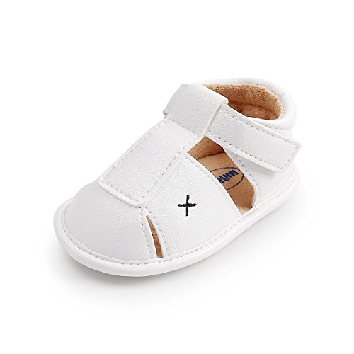 Greceen Baby boy Girl Sandals Summer Infant Toddler Soft Anti Slip Sole Crib Shoes (Lx102 12-18 Months White)