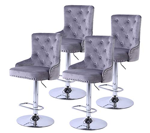 Kitchen High Bar Chair Set of 4 Velvet Grey Swivel Bar Stool Counter Height Barstool Chair with Back for Dining Room with Footrest , Rivets Detailing