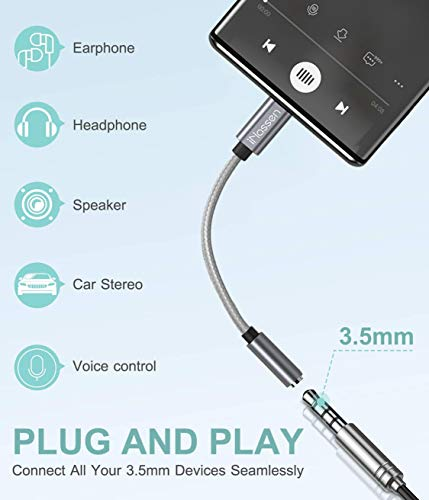 USB C to 3.5mm Headphone Jack Adapter, iNassen Type C to Aux Audio Dongle Cable Cord 384khz-32bit Hi-Res DAC for Pixel 4 3 2 XL, Samsung Galaxy S20 Ultra Z Flip S20+ Note 10 Note 10+, iPad Pro(Grey)