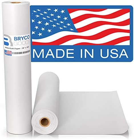 White Kraft Arts and Crafts Paper Roll 18 inches by 100 Feet 1200 Inch Ideal for Paints Wall product image