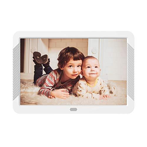 Digitaler Bilderrahmen 8 Zoll mit SD Karte und Fernbedienung, 1920 x 1080 Full-IPS Zeigt Elektronischer Bilderrahmen, Fotos und Videos gemischt an Kalender Wecker Timer unterstützt USB-und SD-Karte