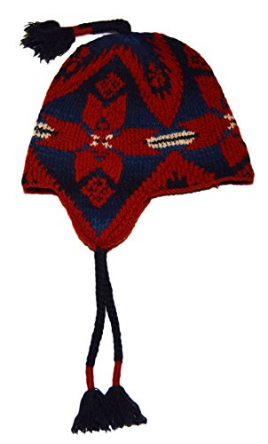 Ralph Lauren Polo Men Indian Southwest Knit Trappers Ski Hat Lambswool Navy Red