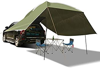 REDCAMP Waterproof Car Awning Sun Shelter Portable Auto Canopy Camper Trailer Sun Shade for Camping SUV Outdoor Beach Army Green