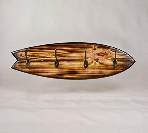 05 Art Deco. Perchero Tabla Surf Tostada Vintage, Surfboard Coat Rack, DECORACIÓN Surfer