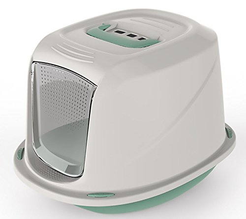 World of pets Cat Litter Box Tray with Door Flap Shuttle Easy Clean...