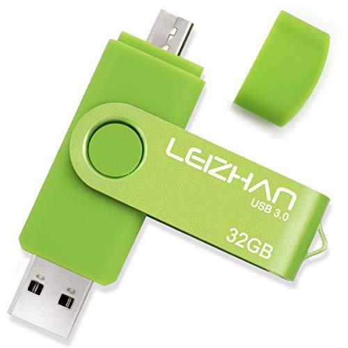 leizhan OTG USB Flash Drive 32GB 64GB 128GB USB 3.0 Cell Phone Storage Stick for Android Smart Phone,Samsung Galaxy S7/S6/S5/S4/S3/Note5/4/3/2/A7/A8/A9/C5/C7/Xiaomi/Huawei (32GB(Micro-USB3.0), Green) -  usbcaijiao011