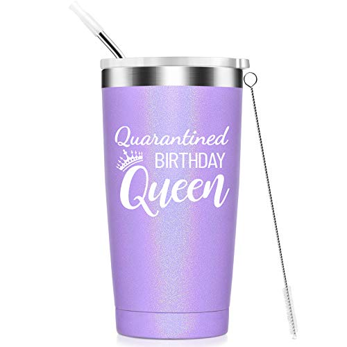 Quarantined Birthday Queen-Funny Social Distancing Gifts for Women, Mom, Wife, Aunt, Grandma, Friends, Sister,Coworkers-21st 30th 40th 50th Quarantine Birthday Gifts,Insulated Tumbler,20oz Purple