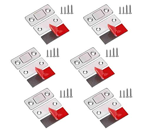 6 Pcs Punch-Free Magnetic Door Closer, Ultra Thin Adhesive Door Magnets Catch, for Wardrobe Kitchen Cabinet Cupboard Closet Closer
