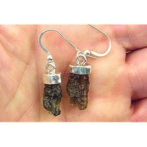 Sterling Silver Czech Moldovite Moldavite Gemstone French Hook Earrings