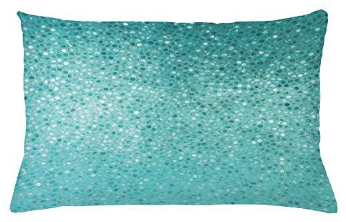ABAKUHAUS Turquesa Funda para Almohadar, Lunar Pequeño Mosaico Azulejo Diseño Simple Clásico Creativo Artístico, Material Lavable con Cremallera Colores No Destiñen, 65 x 40 cm, Turquesa