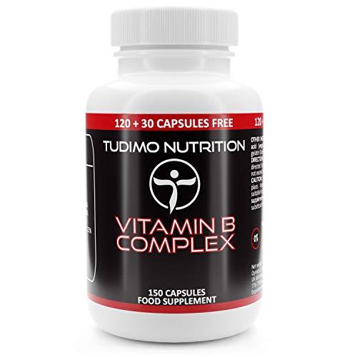 Vegan Vitamin B Complex | 150 pzas (5 Meses de Provision) de Cápsulas de Desintegración Rápida, con Vitaminas del Complejo B Esenciales: Vit B1, B2, B3, B5, B6, B9, B12, D-biotina, Colina, Inositol