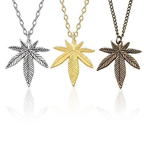 Yaosh 3-Teiliges Set Geschenk Für Eine Frau, Halskette Hanfblatt-Anhänger Ahornblatt Halskette Pflanze Blatt-Halskette Weed Herb Ketten Schmuck Geschenke