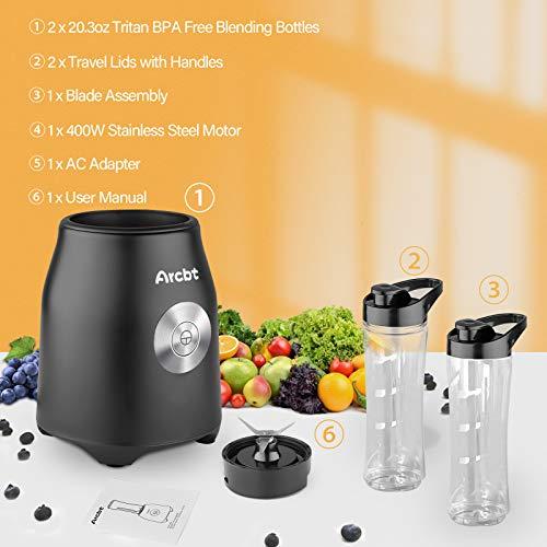 Arcbt Professional Smoothie Blender, 400W Countertop Blender with 2 x 20.3oz Tritan BPA-Free Travel Blender Bottles, Mini Single Serve Personal Blender for Shakes, Juice and Baby Food, Black